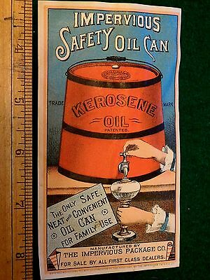 1886 Impervious Safety Oil Can, Kerosene Oil, The Impervious Package Co Card F1