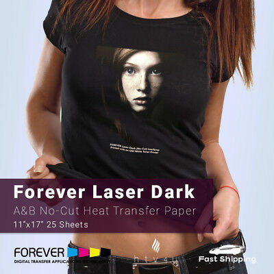 "Forever Laser Dark No-Cut A & B Heat Transfer Paper 11"" x 17"" - 25 Sheets"