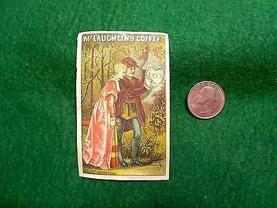 Victorian Trade Card McLaughlin's XXXX Coffee, Man Wooing Lady Carving Tree Z2