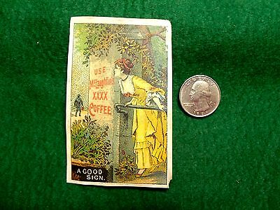Victorian Trade Card McLaughlin's XXXX Coffee, Lovely Lady Outside Tree Z2
