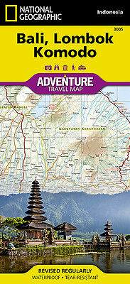 Bali Lombok Komodo Indonesia Adventure Travel Map National Geographic Waterproof