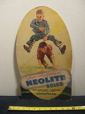 "1950's Goodyear Advertising Sign Neolite Soles Cardboard 17.5"" Tall"
