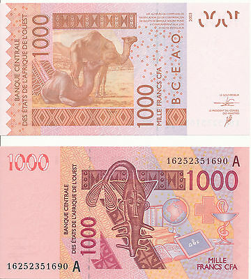 West African St. / Ivory Coast  - 1000 Francs 2003 (2016) UNC - Pick New