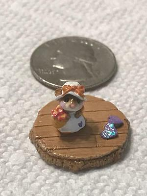 Wee Forest Folk Tiny Mouse Mouse with Bow Hat Folktoberfest OAK accessory.