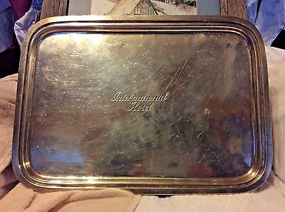"""International Hotel  P. of N.Y.A. Silver Soldered IS Co. 16"""" x 12"""" Tray"""