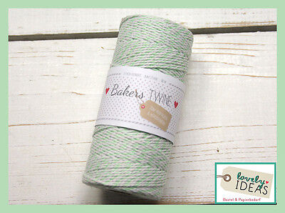 (0.09€/m) Baker's Twine mint green/WHITE 90m Roll Bakers Cord Craft cord