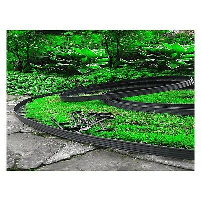 Flexible Plastic Garden Grass Lawn Edging Border 10 m + 30 Securing Pegs Black