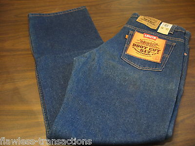 LEVI JEANS VINTAGE 517 Orange Tab Bootcut Denim Blue Jeans Levis 36 x 32 NEW