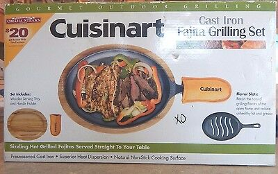 New NIB Cuisinart Cast Iron Grilled Fajita Set Skillet Open Flame Flavor CFS-219