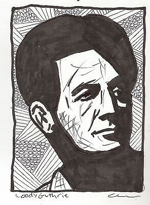 Comic-Pen/Ink Illustration Sketch Drawing Country Folk Icon Woody Guthrie PopArt