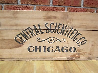 """Old 33"""" Central Scientific Co Chicago Wooden Shipping Crate Box"""