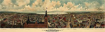 12x18 inch Reprint of Old Maps 1898 Milwaukee Map
