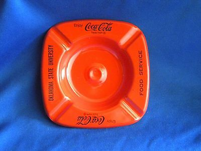1970's Oklahoma State University Food Service Coca Cola Metal Ashtray Coke OSU