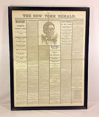 Framed April 1865 NY Herald Newspaper of Lincoln Assassination Reproduction