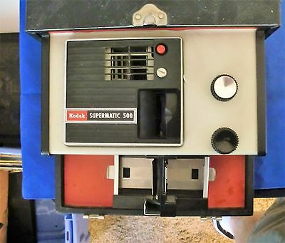 Vintage Eastman Kodak Supermatic 500 Model A Slide Projector Works With Case