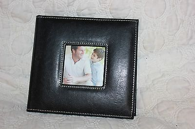 """Photo Album  100 Photos 4""""x6"""" Embroidered Sewn Leatherette Cover Black .new"""