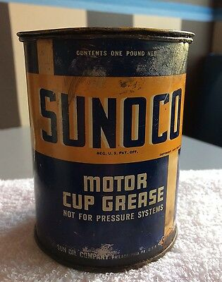 Vintage 1937 Sunoco Automotive Lubricant  / Motor Cup Grease  1 lb Grease Can