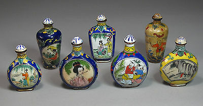 An Old Antique Group of 7 Fine Chinese Enameled/Painted Snuff Bottles