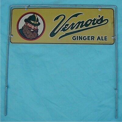 Vtg. Double-Sided Vernors Ginger Ale Advertising Store Display Tin Sign Topper