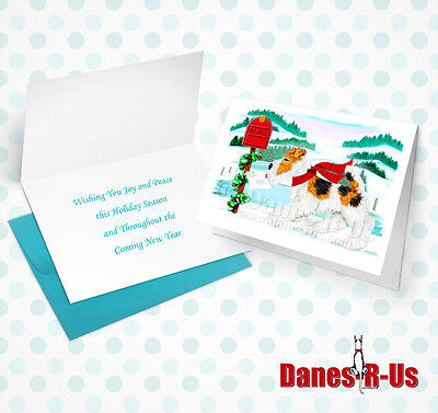 Wire Fox Terrier Holiday Mail Dog Art Christmas Greeting Note Cards Set of 10