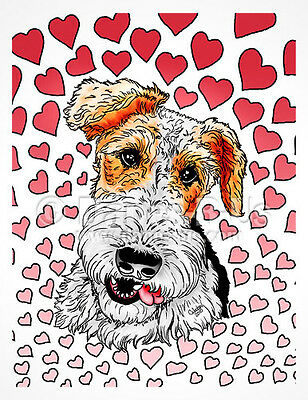Wire Fox Terrier Pink Hearts Valentines Dog Art Greeting Note Cards Set of 10