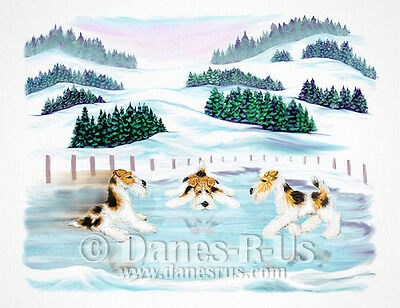 Wire Fox Terrier Dog Art Skate Date Winter Scene Greeting Note Cards Set of 10