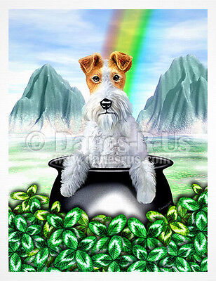 Wire Fox Terrier Pot O Gold St Patrick's Day Dog Greeting Note Cards Set of 10