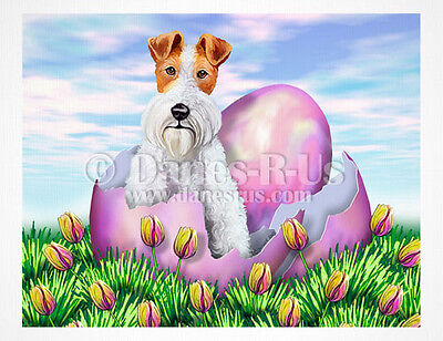 Wire Fox Terrier Easter Surprise Eggs Dog Art Greeting Note Cards Set of 10