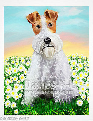 Wire Fox Terrier Dog Art Daisy Patch Spring Summer Greeting Note Cards Set of 10