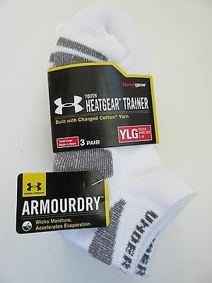 Under Armour Heat Gear Trainer No Show White Sock Boy's Youth Large (1-4) 3 PAIR