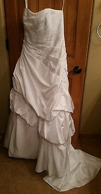 Gorgeous Davids Bridal Strapless Long White Wedding Gown Dress Size 14 16 Xl L