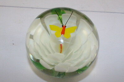 Beautiful Vintage Art Glass Paperweight White Flower with Butterfly  Excel Cond