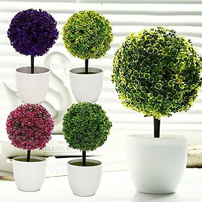 1Pc Creative Mini Artificial Ball Shape Tree Plants In Pot Home Decor Rose Red