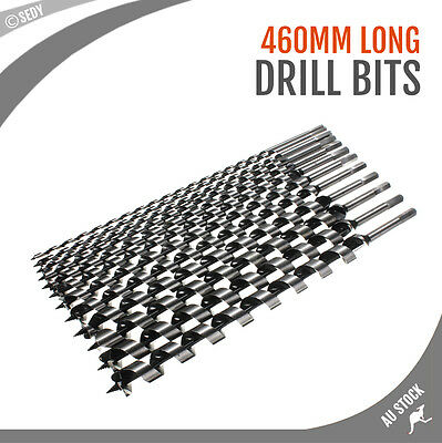26 Sizes Auger Drill Bits 460mm Long Wood Twist Timber Drilling Set Carbon Steel