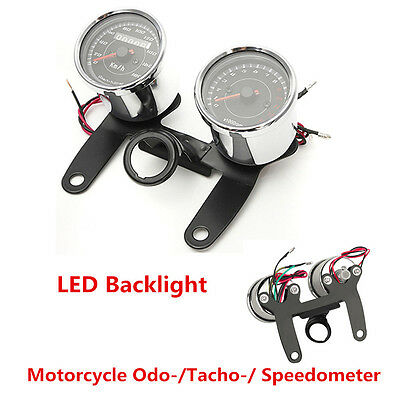 Motorcycle Odo-/Speedo-/Tachometer Gauge 13000 RPM LED Backlight with Bracket