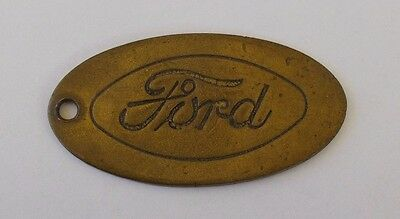 Vintage  FORD Motor Company Truck Car Solid Brass Oval  Key Chain Fob
