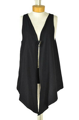 SIMPLY COTTON by Cecilia Nathal Lagenlook Long Vest Size M Women Black Top