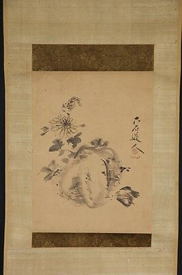 JAPANESE HANGING SCROLL ART Painting  Asian antique  #E5012