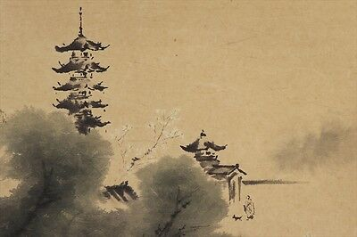 "JAPANESE HANGING SCROLL ART Painting Scenery ""Kyoto"" Asian antique  #E4988"