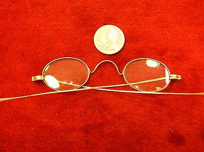 #2 Very Nice Pair Of Vtg Antique Nickel Plated? Eyeglasses, Small Oval Lenses