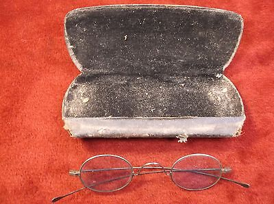 "#7 Rare Pair Of Very Old Vtg Antique Steel ""tinted"" Eyeglasses Sunglasses & Case"