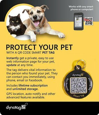 Dynotag Web/GPS Enabled QR Code Smart Round Coated Tag Find Your Missing Dog Cat