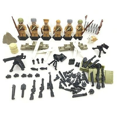 WWII Soviet Soldiers - Compatible with Lego  - Army Minifigs - Military Russian