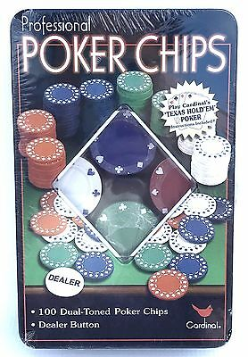 100 Dual-Toned Professional Poker Chips and Dealer Button in a Tin - New