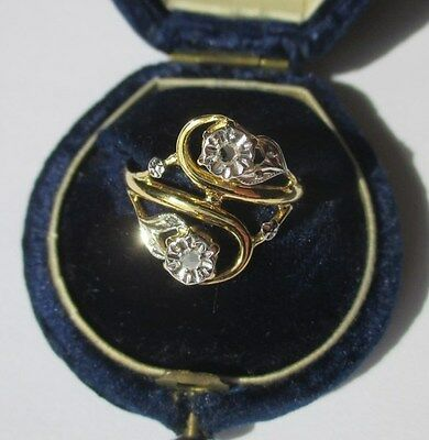 Bague Toi et Moi ancienne 1900 - Diamants - French gold ring or 18 carats 750
