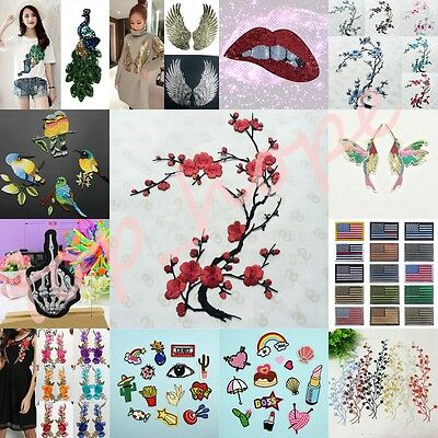 Embroidered Sew On Patches Sequin Fabric Hat Bag Clothes Applique Craft Transfer