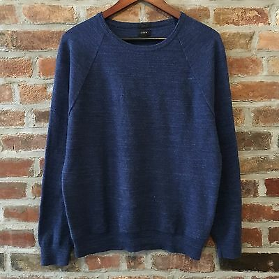 J. Crew Slim Fit Cotton Slub Knit Blue Crewneck Sweater Men's Medium M
