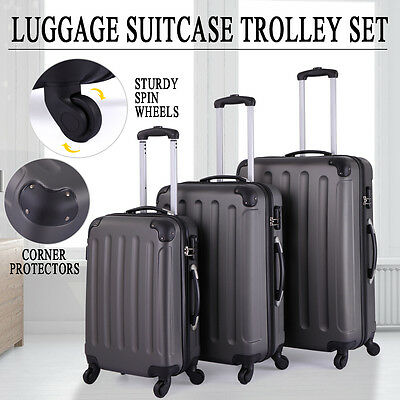 BHC 3 Pcs Luggage Travel Set Bag ABS+PC Trolley Suitcase Gray