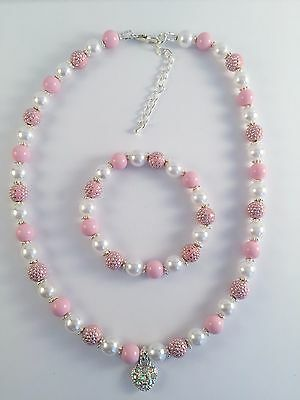 Children Girls Princess Beads Necklace & Bracelet Jewellery Set Heart Gift Pink
