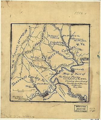 12x18 inch Reprint of USA City Town State Map Great Flat Top Coal Field Virginia